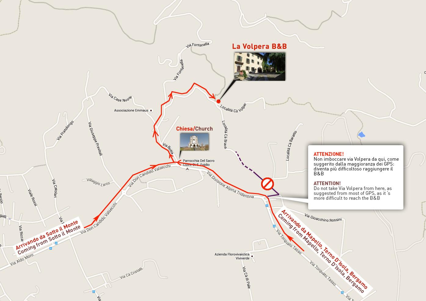 Come arrivare La Volpera Mapello Bergamo